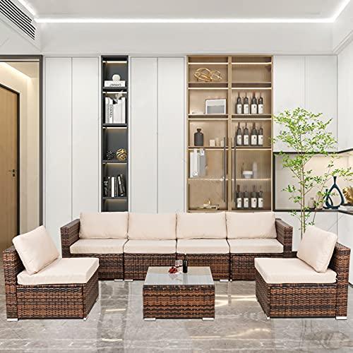 Juego de muebles de jardín 7 piezas de ratán al aire libre sofá esquinero marrón PE mimbre patio jardín esquina sofá mesa de café con cojines de asiento beige