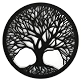 Cuadro Árbol de la vida Calado de Pared -Fabricado en Madera Artesanalmente en España - Cuadro Decoración para Salón, Dormitorio, Baño (Negro, 1 unidad 80x80 M55)