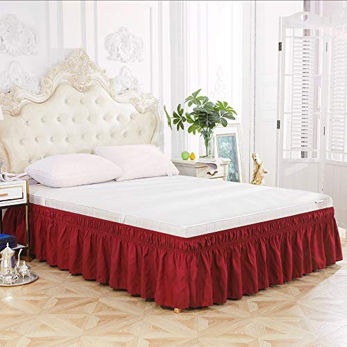 Polyester Wrap Around Frilled Valance Bed Skirt,Single Double King Super King Elastic Dust Ruffles Bedskirts,Easy Care, Machine Washable,red,Super king