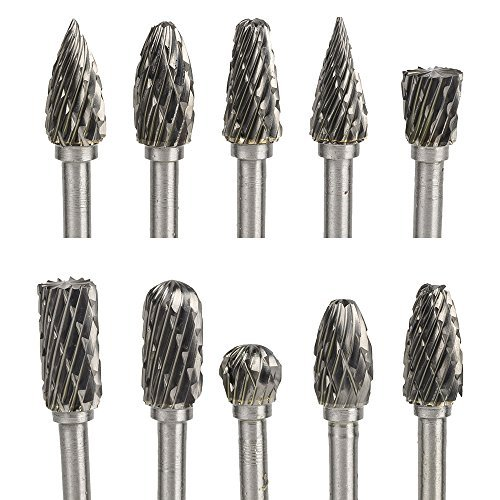 Kingsea 10Stk Hartmetall Frässtifte Set - 3mm Schaft Raspel Set mit Doppelschnitt für Holz Metall Steinschnitzen, Gravieren, Bohren Dremel Tools