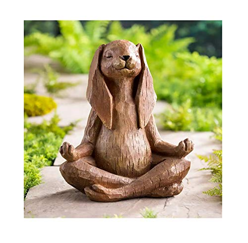 KPNG Meditation Statue Katze Statue Hunde-Statue Zen Yoga Hase Deko Figur Harz Meditation Yoga Decor,Feng Shui Ornament Skulptur,Sammlung Handwerk,Rasen Garten Dekor (# 05-Kaninchen)