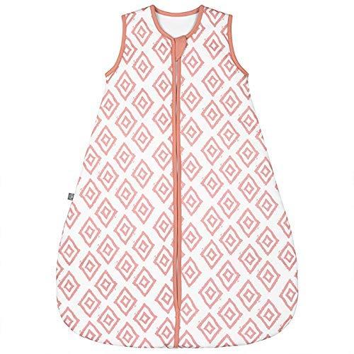 emma & noah Premium Baby Schlafsack, Flauschig Weich, Bequem & Atmungsaktiv, 100% natürliche Baumwolle, Großzügige Bewegungsfreiheit, 2.5 TOG (Rauten Rosa, 9-36 Monate / 90 cm)