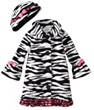 Bonnie Baby Baby Girls' Zebra Fleece Coat and Hat Set, Black/White, 12 Months