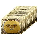 Ruzzut 24K Gold Collagen Essence Full Face Facial Mask - Skin Care Gold Hydrating Face Sheet Mask with Hyaluronic Acid & Hydrolyzed Collagen for Anti Wrinkles and Fine Lines, 12 PCS