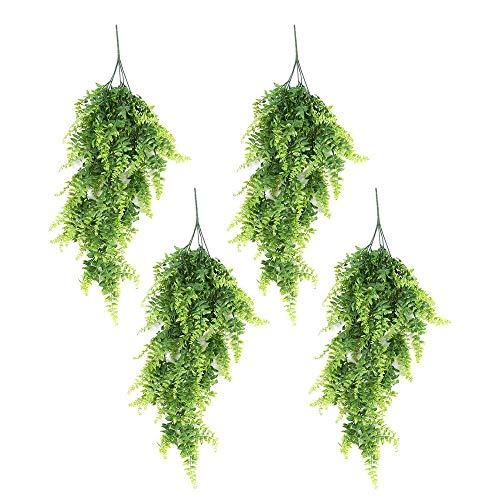 lulalula Künstliche Hängepflanzen, 85 cm, Wandbehang, Rankenpflanzen, grüne Persische Blätter, künstliches Grün für Zuhause, Hochzeit, Garten, Außenwanddekoration, 4 Stück