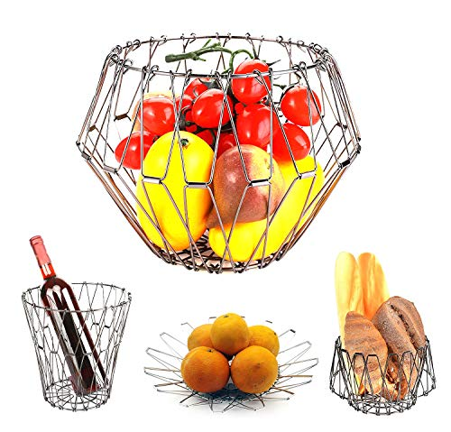 Fruit Bowls, Stainless Steel Fruit Basket Geometric Line Storage Deformable Bowl(Silver)
