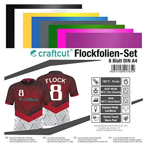 craftcut Flockfolien-Set 8 Blatt DIN A4 in verschiedenen Farben für den Textildruck, 160C° - 15 sek.