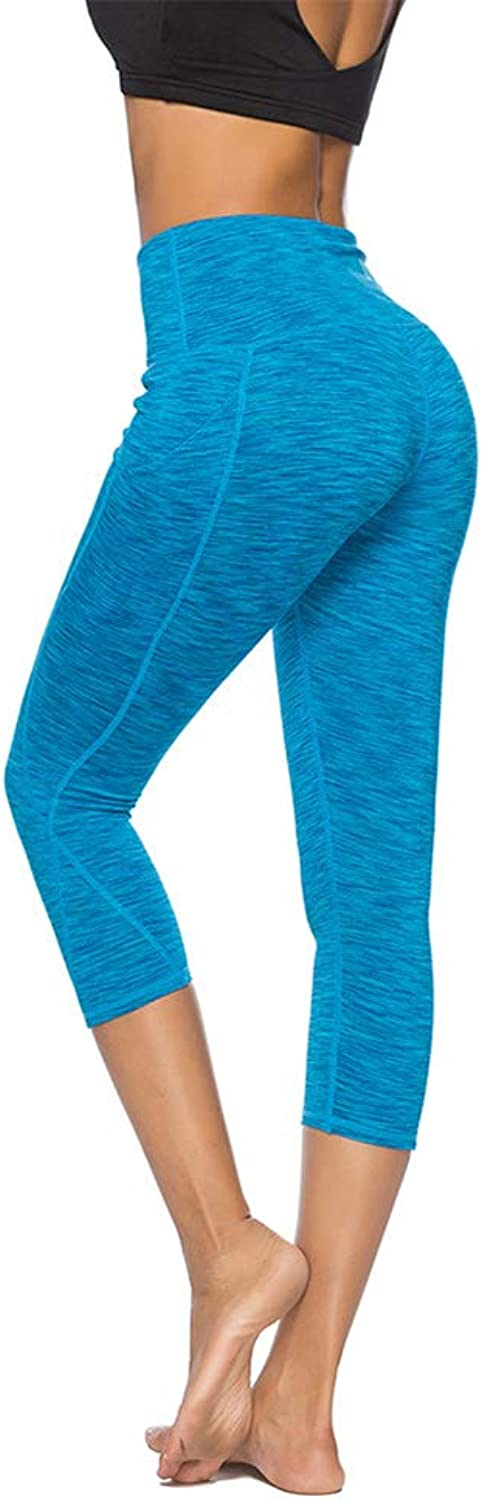High Waist Leggings, Womens Running Tights with Pockets Power Stretch Yoga Pants Slim Fit Sports Trousers Cropped,a,M