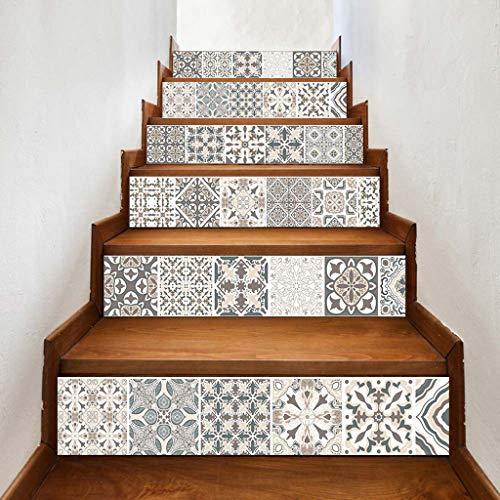 Youliy 6 Stück/Set 3D Mandala Blume selbstklebend Treppensteiger Aufkleber Treppenaufkleber Tapete Heimdekoration