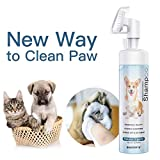 SHENMATE Pet Paw Helper, No-Rinse Waterless Shampoo for Dogs Cats, Soft Silicone Grooming Brush, 6.8 OZ (1 Bottle)