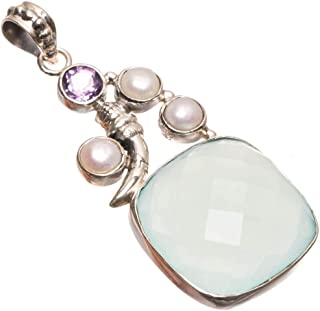 Natural Chalcedony,River Pearl and Amethyst Punk Style 925 Sterling Silver Pendant 2