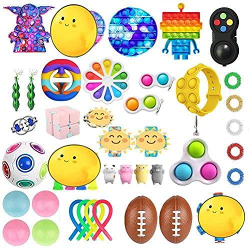 CaCaCook 43 Stück Fidget Toy Set Box, Sensorische Fidget Spielzeug, Anti-Stress Fidget Toy Set, Fidget Spielzeug-Set, Stress Relieve FüR Kinder Erwachsene Spielzeug Set (F)