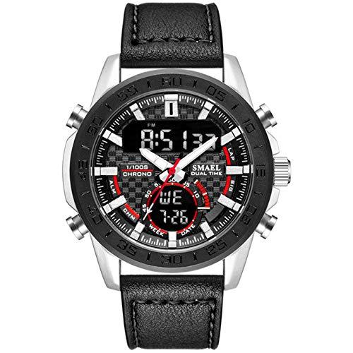 JTTM Relojes Hombre Reloj Militar Deportivos Digital Impermeable LED Cronometro Calendario Fecha Electrónico Reloj Grandes De Pulsera De Analógico Cuarzo Casual,Black Red