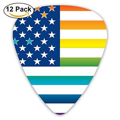 Rainbow American Flag Gay Lesbian Pride Sampler Guitar Picks - 12 Pack Complete Gift Set For Guitarist Best Gift For Guitarist