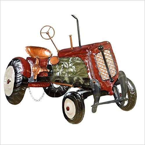 Décoration Murale Vieux Tracteur Vintage 3 D En Métal Émaillé Rouge Et Noir- L 67 X H 56 Cm Très Décoratif Pour Un Agriculteur, Viticulteur, Collectio