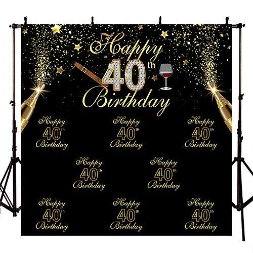 MEHOFOTO zwarte foto achtergrond glanzend gouden sterren champagne sigaar man 40e gelukkige verjaardag partij Banner achtergronden voor fotografie 8x8ft
