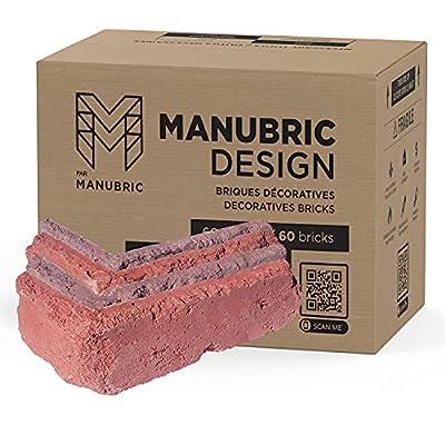 Manubric – Faux Brick – DIY All Included Brick Veneer Kit, Fire-Resistant Thin Fake Bricks for Interior Brick Veneer Wall, Fake Brick Wall for Home Renovation & Decoration (Lyon, 3.75 LFT.)