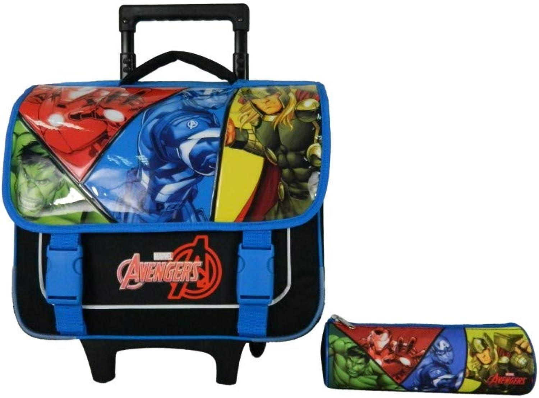 Bagtrotter AVNI98COMI Avengers Schultrolley + Federmppchen, 38 x 14 x 33 cm, Farbe  Schwarz