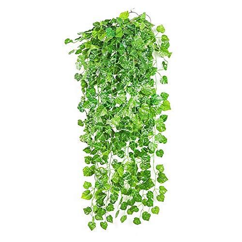 Ivy Vine Kunstslinger, 1 stuk x 100 cm, groene wandhouder, zijdebladeren, huistuin, hek, bruiloft, raam, outdoor, staircase-108 bladeren Grape Leaves