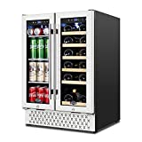 TYLZA Wine and Beverage Refrigerator 24 Inch Dual Zone Wine Beverage Cooler with Memory Temperature Control Built-in or Freestanding, Quick Cooling Mini Wine Beer Fridge, Hold 18 Bottles and 57 Cans