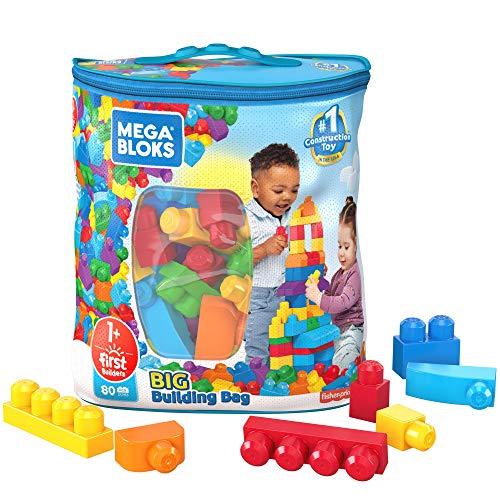 Mega Bloks Sac bleu, jeu de blocs de construction, 80 pièces, jouet pour bébé et enfant de 1 à 5 ans, DCH63