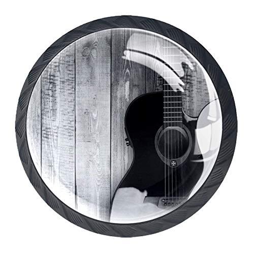 Las manijas del cajón tiran el vidrio de cristal redondo para el hogar, la cocina, el tocador, el armario, la guitarra musical en blanco y negro