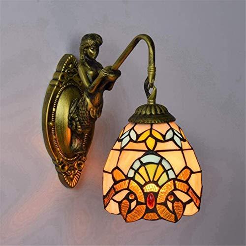 Lámparas de pared industriales, Lámpara de pared creativa retro arte colorido vidrio lampana para sala de estar dormitorio dormitorio bar posada iluminación, dos cabezas, 26x40cm Lámparas de pared