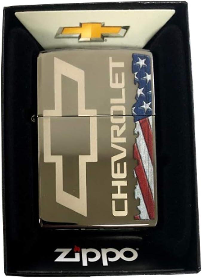 Zippo Custom Lighter Bombing free shipping - Black Ice American Max 76% OFF Flag Ca Chevrolet Logo