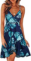 ULTRANICE Womens Summer Floral Wrap V Neck Adjustable Spaghetti Casual Ruffle Dress