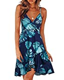 ULTRANICE Womens Summer Floral Wrap V Neck Adjustable Spaghetti Ruffle Dress(Floral05,S)