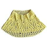 ZChun – Vestido de mujer para verano, hecho a mano, de ganchillo, de punto, estilo étnico amarillo Talla única