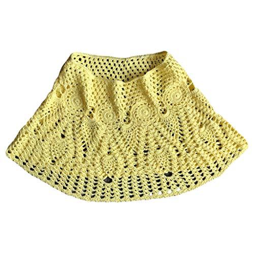 ZChun Vrouwen zomer handwerk kant gehaakte bikini broekspijpen rok effen gebreid badpak vervagen etnische patronen Mini A-Line zwemmen jurk