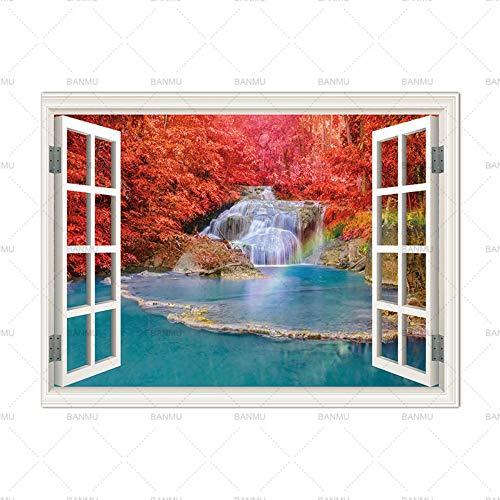 LILUOZSH Picture Printing Op Doek, Muurkunst Foto Prints Op Bomen Buiten Het Venster Home Decor Canvas Schilderij Wandposter Decoratie Voor Woonkamer Geen Frame 30×50cm