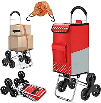 Shopping Cart Super Loading Stair Climber Cart 220 lbs Capacity Grocery Foldable Cart with Extra Large Shopping Bag Laundry Utility Cart with Adjustable Bungee Cord  Red