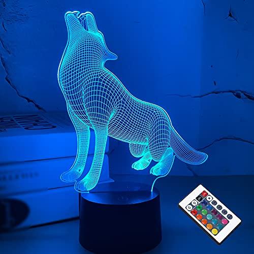 3D Wolf Illusion lampe, CooPark Tier LED Optisches Hologramm Nachtlicht 16 Farben ändern sich mit Fernbedienung, Kinderzimmer Dekor Kreative Geschenke für Weihnachten Geburtstag Jungen Mädchen