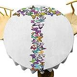 VICWOWONE - Mantel redondo con diseño de letras en T, diseño de alfabeto con mariposas y letra, multicolor