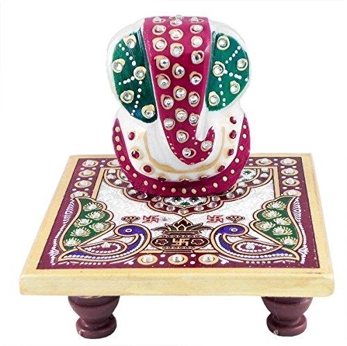 DollsofIndia MX88 Ganesha auf Chowki Marmor-Statue, 9,5 x 10 x 10 cm