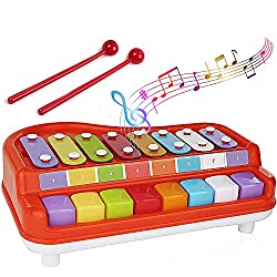 Toysery 2 in 1 Piano Xylophone - Top 10 Best Baby Musical Instruments