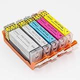 INKWAY PGI-570 CLI-571 - Cartuchos de tinta comestibles PGI-570XL CLI-571XL compatibles con Canon Pixma MG5750 TS5050 MG5751 MG5753 MG6850 MG6851 MG6852 TS5051 TS5053 TS5055 TS6050 TS6051
