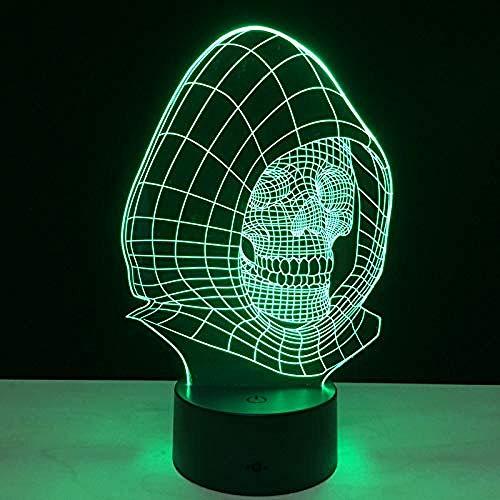 3D nachtlampje nachtlampje kleurrijke schedel visuele lamp Touch 7 kleuren veranderende LED nachtlampje 3D creatief cadeau Halloween powerbank tafellampen voor kinderen