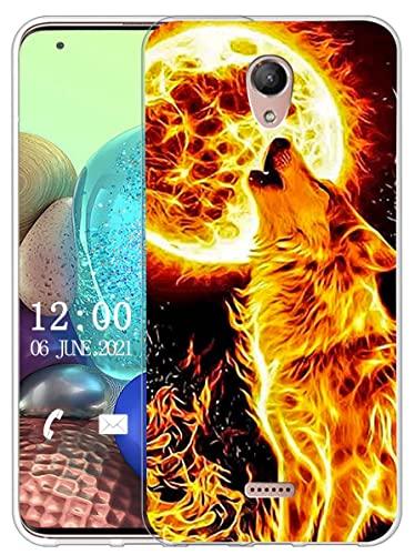 Sunrive Kompatibel mit Wiko U Feel Fab Hülle Silikon, Transparent Handyhülle Schutzhülle Etui Hülle (X Wolf)+Gratis Universal Eingabestift MEHRWEG