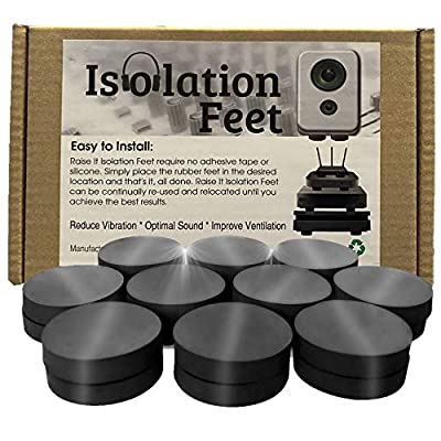 Raise It Isolation Feet for Speaker Vibration/Ventilation and Cooling for Consoles PS4, PS5, Xbox, PC, DVD Player, Internet Router/Universal Fit/Non-Slip / 12 Pack by Raiseit