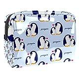 Kit de Maquillaje Neceser Pingüino de Dibujos Animados Make Up Bolso de Cosméticos Portable Organizador Maletín para Maquillaje Maleta de Makeup Profesional 18.5x7.5x13cm
