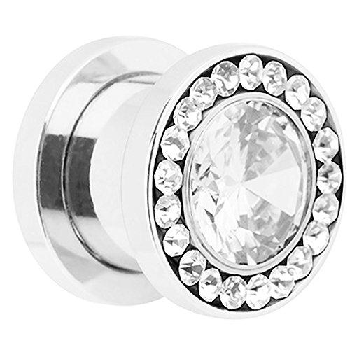 Piersando® Flesh Tunnel Ohr Piercing Plug Ohrpiercing Schmuck Schraub Edelstahl mit vielen Zirkonia am Rand Silber 3 mm Clear Clear
