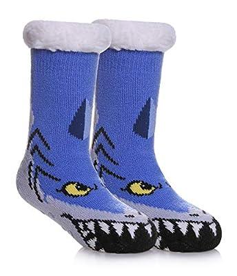 SDBING Kids Warm Slipper Socks Cozy Soft Thick Winter Indoor Christmas Socks for Boys Girls