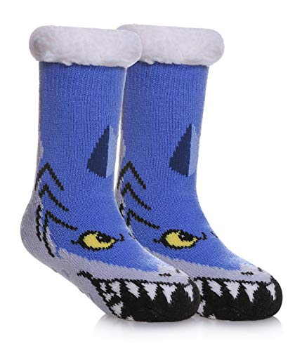 SDBING Kids Warm Slipper Socks Cozy Soft Thick Winter Indoor Christmas Socks for Boys Girls (Blue Shark, 5-8 Years Old)