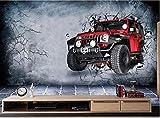 fond d'écran 3d voiture de luxe rétro cassé peinture de mur de fond de mur, 150cm * 105cm