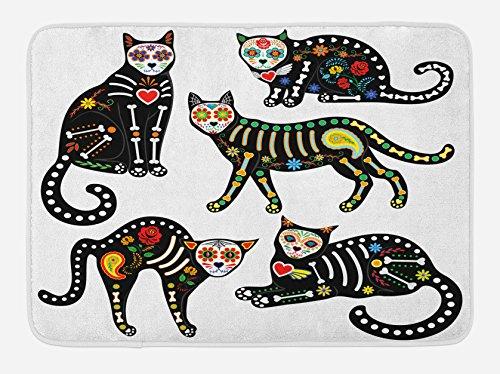 Ambesonne Sugar Skull Bath Mat, Calavera Inspired Ornate Black Cats...