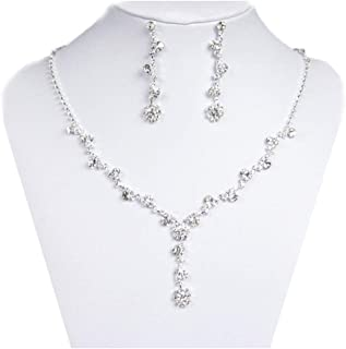 UDORA Rhinestones Necklace Earrings Jewelry Sets for Bridal Wedding Party