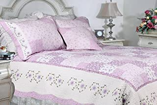[Love of Lilac] 100% Cotton 3PC Floral Vermicelli-Quilted Embroidered Patchwork Quilt Set (Full/Queen Size)